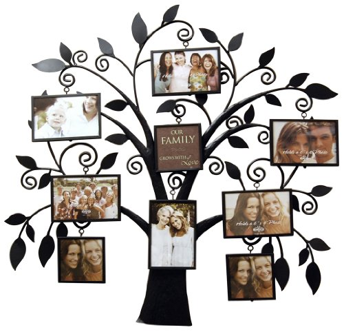 8 Frame Black Metal Family Tree Wall Hanging | Tree Chasers